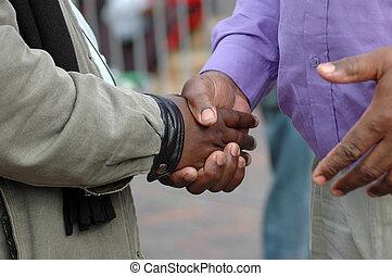 mains, africaine, secousse