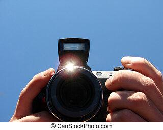 mains, appareil photo