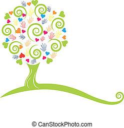 mains, arbre, logo, cœurs, vert