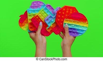 mains, chroma, isolé, pop, il, jouets, clã©, projection, beaucoup, anti-stress, bulles, squish, sensoriel, girl, jeu