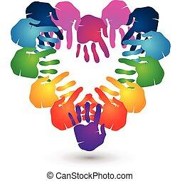 mains, coeur, collaboration, logo, forme