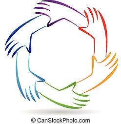 mains, collaboration, logo, identité, unité