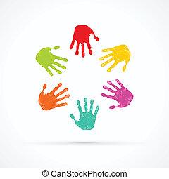 mains, coloré