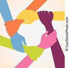 mains, coloré, créatif, équipe, beaucoup, anneau