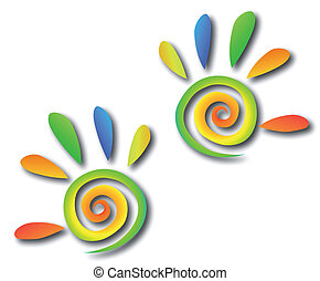 mains, coloré, spirale, vecteur, fingers.