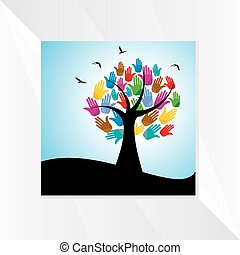 mains, concept, arbre
