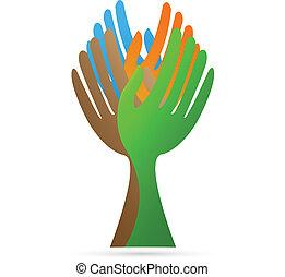 mains, confection, arbre, logo, vecteur