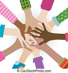 mains, divers, togetherness