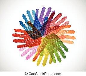 mains, diversité, gribouiller