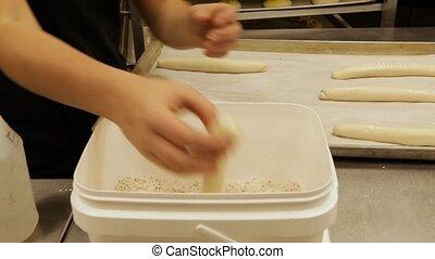 mains, dough., préparer, boulanger, pain