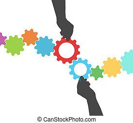 mains, engrenage, gens, processus, gestion, technologie