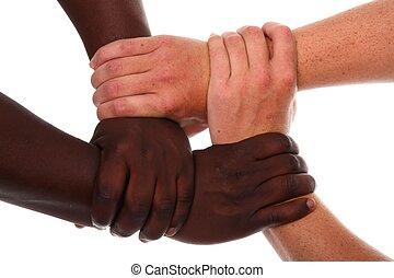 mains ensemble, hermétiquement, tenue