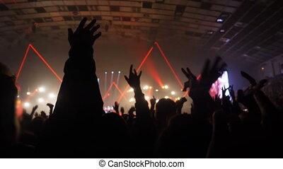 mains, exposition, lumière, gens, musical, concert