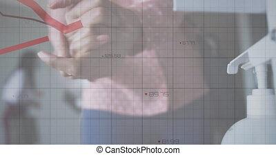mains, femme, désinfecter, numérique, statistiques, projection, animation, interface