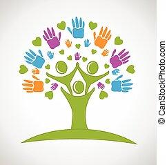 mains, gens, arbre, logo, cœurs