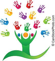 mains, gens, arbre, logo, vecteur