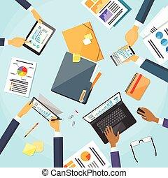 mains, gens, fonctionnement, equipe affaires, lieu travail, bureau