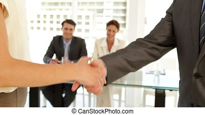 mains, gens, secousse, business