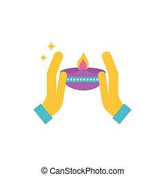 mains, heureux, bougie, diwali, célébration