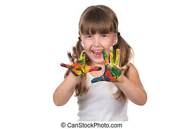 mains, heureux, pré, gosse, école, peint
