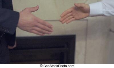 mains, hommes, business, secousse