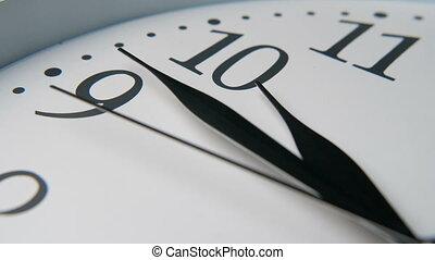 mains, horloge, trois, cadran, dix, pointage, noir, long, quinze, minutes, blanc