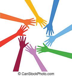 mains, humain, multiracial, vecteur