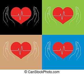 mains humaines, cœurs