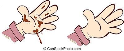 mains, illustration, sale, vecteur