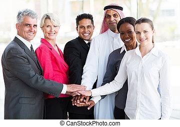 mains, leur, business, ensemble, équipe, mettre, groupe