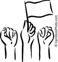mains, leur, gens, vote, élevé, drapeau, poing, haut