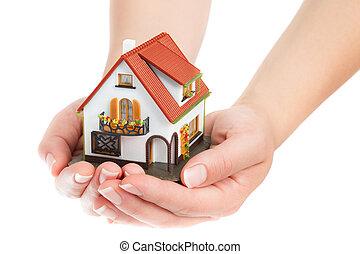 mains, maison, vrai, -, propriété