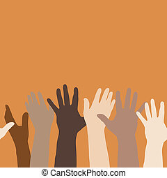 mains ont élevé