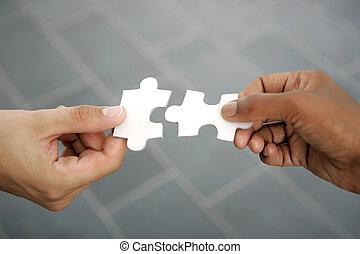 mains, piec, essayer, puzzle, deux, crise