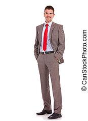 mains, poches, business, jeune homme