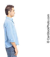 mains, poches, jeune homme, debout
