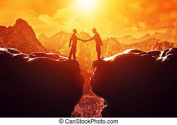 mains, poignée main, sur, hommes, deux, deal., precipice., secousse, business