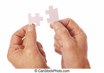 mains, puzzle, puzzle, relier, morceaux