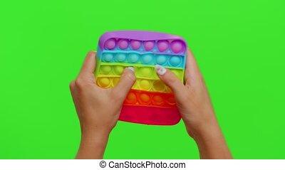 mains, recuit de détente, pression, femme, bulle, chroma, pop, il, clã©, inquiétude, poussée, fidget, jouet, sensoriel