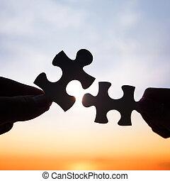 mains, relier, morceaux, essayer, puzzle, deux
