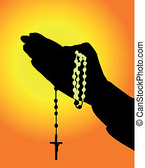 mains, rosaire, silhouette