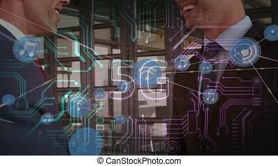 mains secouer, connexions, 5g, texte, deux, contre, sur, icônes, homme affaires, réseau