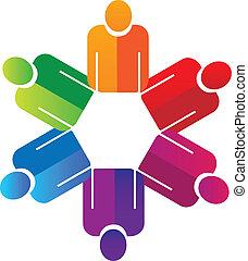 mains, tenue, gens, collaboration, logo