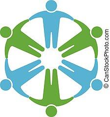 mains, tenue, gens, logo., cercle