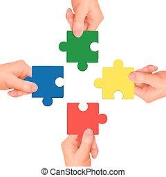 mains, tenue, morceaux, puzzle, concept:, coopération