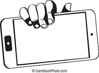 mains, tenue, tablette, toucher, -, informatique, black-white, gadget