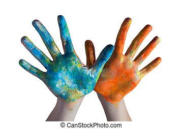 mains traversées, coloré