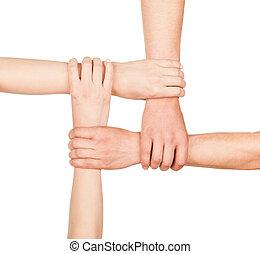 mains, unité, autre, tenue, chaque, fermé