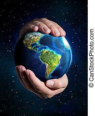 mains, univers, la terre, -