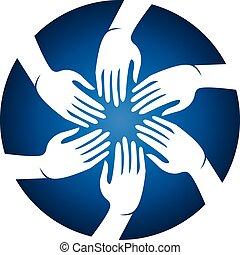 mains, vecteur, personnes réunion